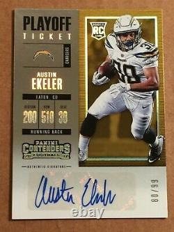 2017 Panini Contenders Playoff Ticket Rookie Auto Austin Ekeler #d/99 Chargers
