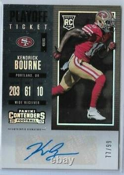 2017 Panini Contenders Rookie Playoff ticket auto Kendrick Bourne 77/99