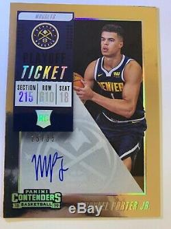 2018 Michael Porter Jr Contenders Playoff Ticket Rookie Auto Rc 25/35 Sp