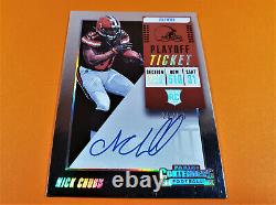 2018 Panini Contenders Nick Chubb Playoff Ticket Rookie Auto Signed Sp #26/99