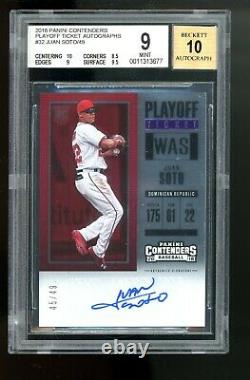 2018 Panini Contenders Playoff Ticket Juan Soto RC BGS 9 10 AUTO MINT Rookie /49