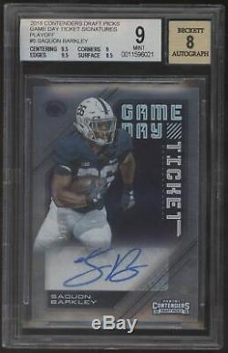 2018 Panini Contenders Saquon Barkley Game Day Ticket Playoff RC Auto /15
