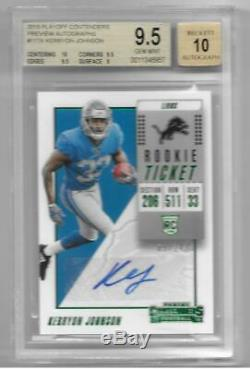 2018 Playoff Contenders Kerryon Johnson Green Preview SP Auto RC #/24 BGS 9.5/10