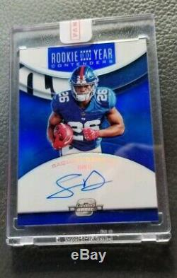 2018 Playoff Contenders Optic Saquon Barkley Rookie Of The Year Blue Auto # /25