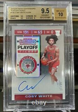 2019-20 Contenders Coby White RC Playoff Ticket Auto #d 17/99 BGS 9.5