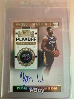 2019-20 Contenders Playoff Ticket #108 Zion Williamson RC Rookie AUTO 3/75 RARE