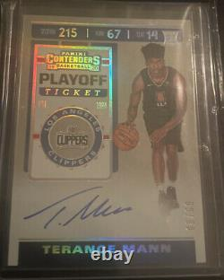 2019-20 Contenders Terance Mann Auto Playoff Ticket 8/99 SP Mint