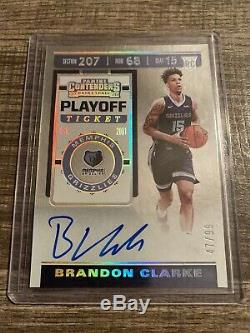 2019-20 Panini Contenders Brandon Clarke Rookie Auto /99 Playoff Ticket Rc NBA