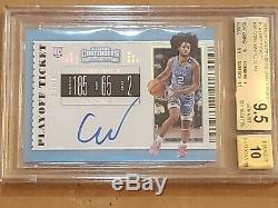 2019 Contenders PLAYOFF Coby White Auto BGS 9.5/10 RC SSP 18/18 = 1/1 Rookie