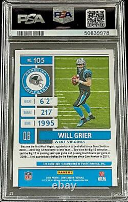 2019 Contenders WILL GRIER FOTL RED ZONE ROOKIE TICKET AUTO PSA 10 GEM! PANTHERS