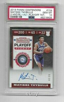 2019 Panini Contenders MATISSE THYBULLE Rookie Auto PLAYOFF /99 PSA 10 GEM MINT