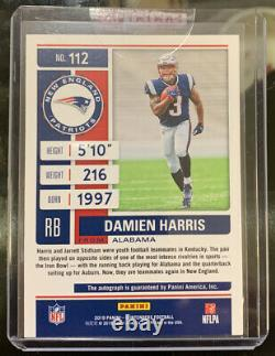 2019 Panini Contenders Playoff Ticket #112 Damien Harris Rookie RC Auto #02/25