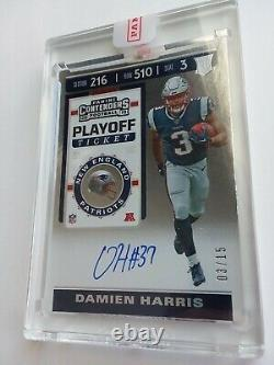 2019 Panini Contenders Playoff Ticket Damien Harris RC Auto #03/15 Jersey # 1/1