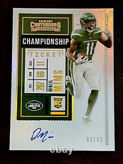 2020 Contenders Denzel Mims Championship Rookie Ticket Rc Auto #/49! Jets! Hot