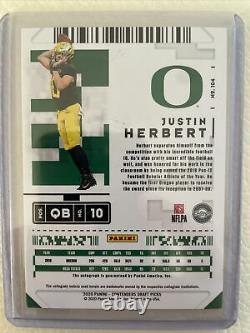 2020 Panini Contenders Justin Herbert Rookie Auto Playoff Ticket Numbered 6/6