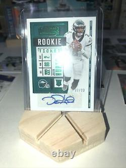 2020 Panini Playoff JALEN HURTS Green Contenders Rookie Ticket Preview AUTO /23