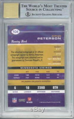 Adrian Peterson Signed Auto 2007 Playoff Contender Rookie #104 AU/355 BGS 9 9