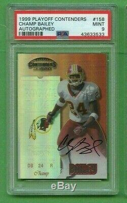 Champ Bailey 1999 Playoff Contenders Rookie Ticket Auto #158 Psa 9 Mint Rc Hof