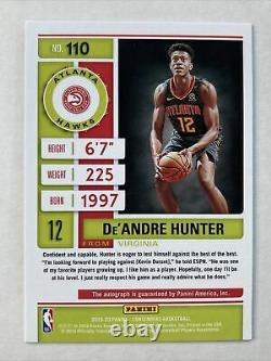 Deandre Hunter 2019-20 Panini Contenders Playoff Ticket RC Rookie Auto /99 Hawks