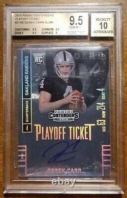 Derek Carr 2014 Panini Contenders Playoff Ticket Rookie Auto RC /99 BGS 9.5 10