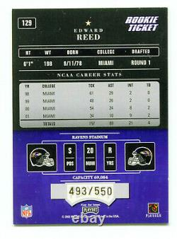 ED REED 2002 Playoff Contenders Rookie Ticket RC Auto Autograph HOF SP 493/550