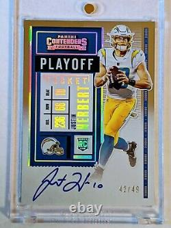 Justin Herbert 2020 Contenders Playoff Ticket Silver On Card Auto #42/49