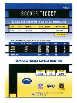 LADAINIAN TOMLINSON 2001 Playoff Contenders Rookie Ticket RC Auto Card SP /600