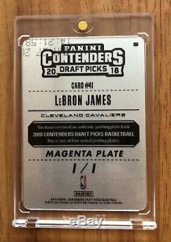 LeBron James 1/1 Printing Plate 2018 Contenders Draft Picks Cleveland Cavaliers