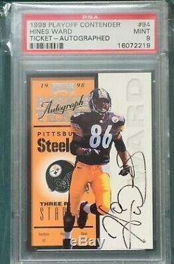 POP 8 PSA 9 Hines Ward 1998 Playoff Contenders Auto RC Rookie #94 Steelers /500