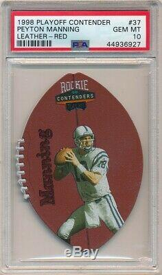 Peyton Manning 1998 Playoff Contenders #37 Rc Rookie Leather Red Psa 10 Gem Mint
