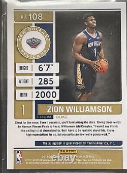 RARE Zion Williamson AUTO Contenders Beckett Mint #108 Playoff Ticket /75 $6k+