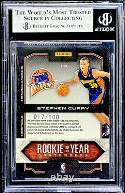 Stephen Curry 2009-10 Playoff Contenders GOLD Rookie Of The Year RC /100 BGS 9