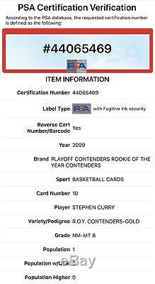 Stephen Curry 2009-10 Playoff Contenders GOLD Rookie Of The Year RC /100 PSA 8