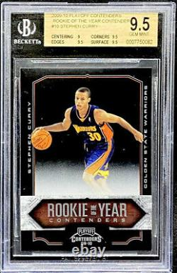 Stephen Curry 2009-10 Playoff Contenders Rookie Of The Year #10 BGS 9.5 POP 2