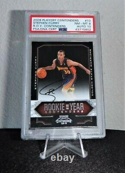 Stephen Curry Auto RC 09-10 Playoff Contenders Rookie of the Year PSA 8 Auto 10