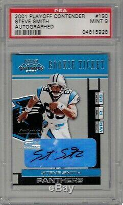 Steve Smith 2001 Playoff Contender #190 Auto SP Rookie Card PSA 9