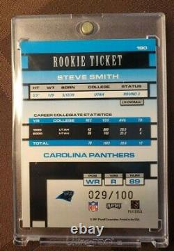 Steve Smith 2001 RC Playoff Contenders Championship Rookie Ticket SSP 29/100