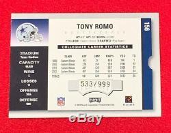 TONY ROMO RC AUTO 2003 Playoff Contenders Season Ticket #/999 Cowboys