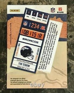 Tim Tebow 2010 Playoff Contenders Rookie Ticket Blue Jsy Version AUTO RC Broncos