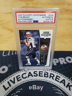 Tom Brady Rookie RC Auto 2000 Playoff Contenders #144 Patriots PSA 9 Auto