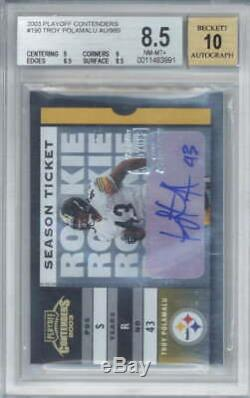 Troy Polamalu Signed Auto 2003 Playoff Contenders Rookie /989 BGS 8.5 10