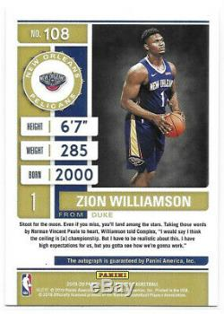 Zion Williamson RC 2019-20 Panini Contenders Variation Auto Playoff Ticket 30/75