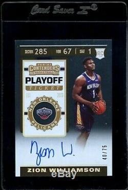 Zion Williamson RC Rookie AUTO #'d 40 /75 NBA Contenders Playoff Ticket 2019-20