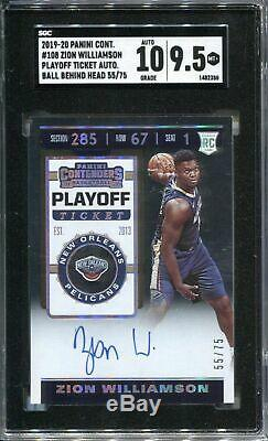 Zion Williamson Sgc 9.5 2019-20 Contenders Playoff Ticket Rookie 10 Auto /75 Rc